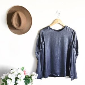 NEW Tibi Navy Shimmer Puff Sleeve Florence Top